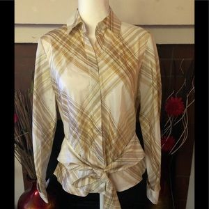 NWT Coldwater Creek Midas Tie Front Shirt Size PM
